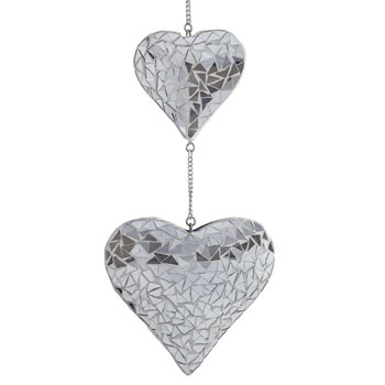 Image of Hanging Silver Mirror Mosaic Duo Heart Ornament for the Garden or Home