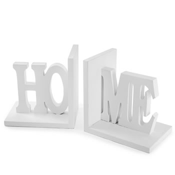 Image of 'Home' White Wooden Bookends for Home Shelf Decoration Display