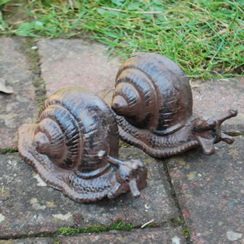 Extra image of Set of Two Cast Iron Snail Ornaments for the Garden