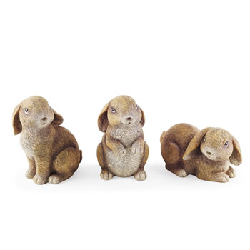 Image of The Nibblers' Detailed Resin Rabbit Garden Ornament Trio