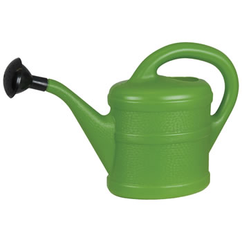 Image of Small 1L Children's Green Plastic Garden Watering Can with Rose