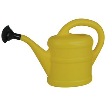 Image of Small 1L Children's Yellow Plastic Garden Watering Can with Rose
