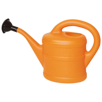 Image of Small 1L Children's Orange Plastic Garden Watering Can with Rose
