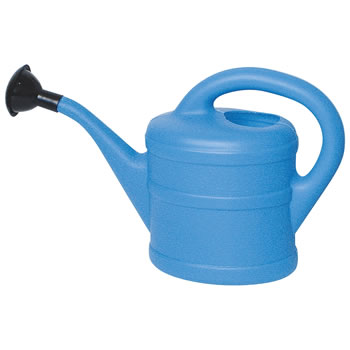 Image of Small 1L Children's Light Blue Plastic Garden Watering Can with Rose