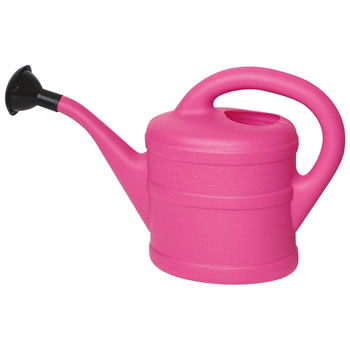 Image of 2L Children's Pink Plastic Garden Watering Can with Rose