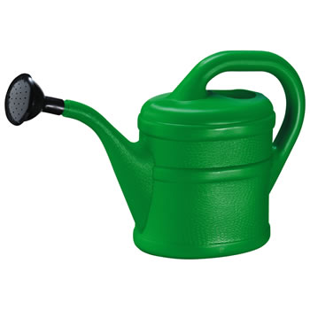 Image of 2L Children's Green Plastic Garden Watering Can with Rose