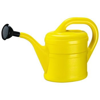 Image of 2L Children's Yellow Plastic Garden Watering Can with Rose