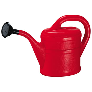 Image of 2L Children's Red Plastic Garden Watering Can with Rose