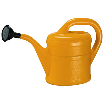 Image of 2L Children's Orange Plastic Garden Watering Can with Rose
