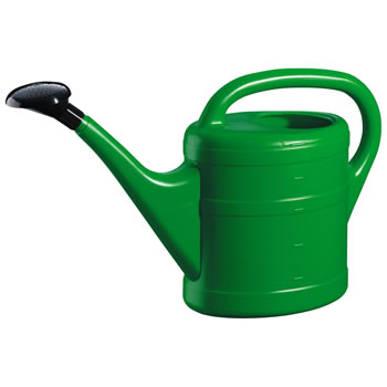 Image of 5L Green Plastic Garden Watering Can with Rose
