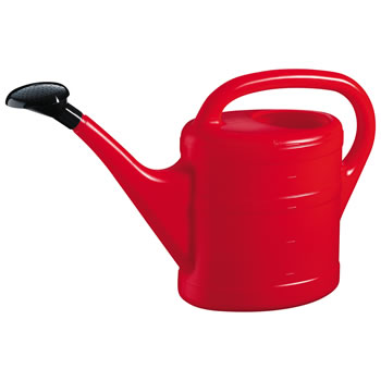 Image of 5L Red Plastic Garden Watering Can with Rose