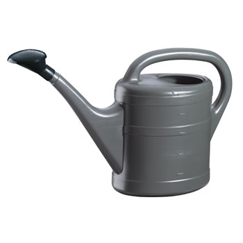 Image of 5L Anthracite Grey Plastic Garden Watering Can with Rose