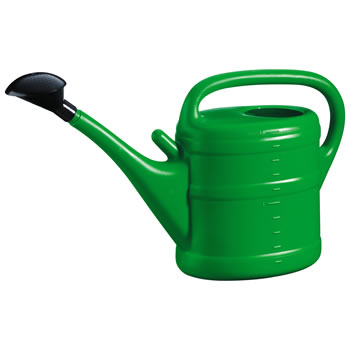 Image of 10L Green Plastic Garden Watering Can with Rose