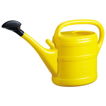 Image of 10L Yellow Plastic Garden Watering Can with Rose