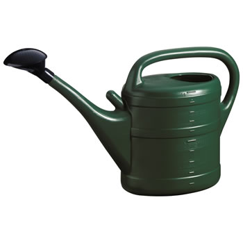 Image of 10L Dark Green Plastic Garden Watering Can with Rose