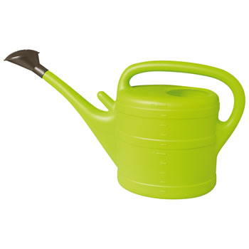 Image of 10L Lime Green Plastic Garden Watering Can with Rose