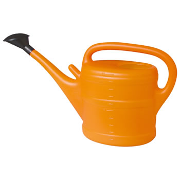 Image of 10L Orange Plastic Garden Watering Can with Rose