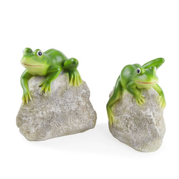 Image of Leafy & Leroy the Pair of Frogs on Rocks Garden Ornament Set