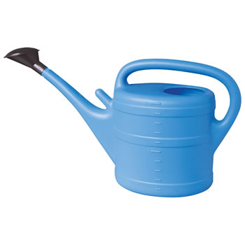 Image of 10L Light Blue Plastic Garden Watering Can with Rose