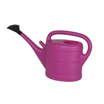 Image of 10L Fuchsia Plastic Garden Watering Can with Rose