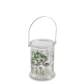 Image of In the Woods' 17cm Glass Windlight Candle Holder w. Nature Theme