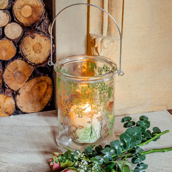 Extra image of 'In the Woods' 21cm Glass Windlight Candle Holder w. Nature Theme