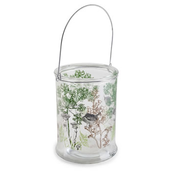 Image of 'In the Woods' 21cm Glass Windlight Candle Holder Lantern with Nature Theme