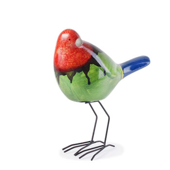 Image of Tropical Bright Terracotta Garden Bird Ornament - Red, Green & Blue