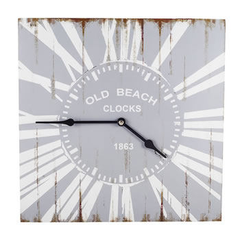 Image of Skye' Old Beach Style Wooden Square Home Wall Clock