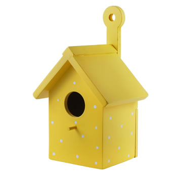 Image of Bright Yellow Wooden Wall Mountable Decorative Garden Bird Box House