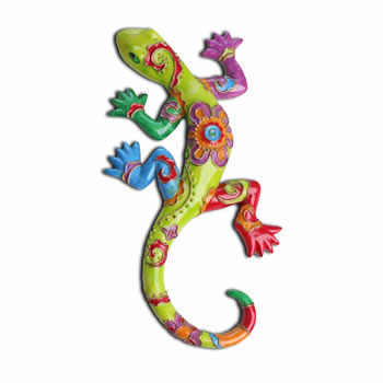 Image of Bright Coloured Lizard Ornament for the Garden in Green