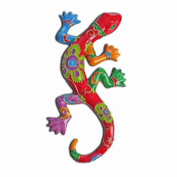Image of Bright Coloured Lizard Ornament for the Garden in Pink