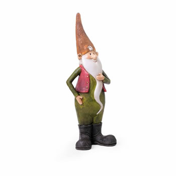 Image of Monty the Standing Resin Garden Gnome Ornament with Orange Hat