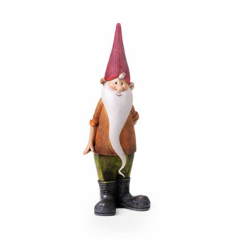 Image of Magnus the Standing Resin Garden Gnome Ornament with Red Hat