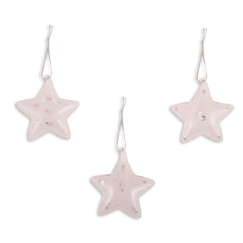 Image of Set of Three Clear Glass Hanging Christmas Star Decorations