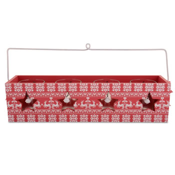 Image of Red Festive Design Wooden Painted Tealight Holder for Four Candles