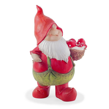 Image of Max the Red Mushroom Collecting Garden Gnome Figurine Ornament