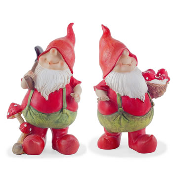 Image of Max & Mason the Traditional Red Gardening Gnome Figurine Ornament Pair