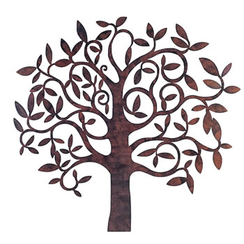 Image of Large Rusty Finish Metal Tree Garden or Home Wall Art