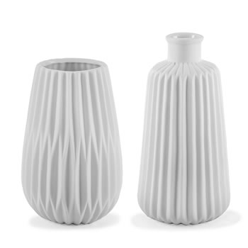 Image of 'Esko' White Geometric Porcelain Contemporary Vase Duo for the Home