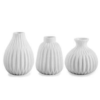 Image of 'Cordelia' Contemporary White Porcelain Bud Vase Trio