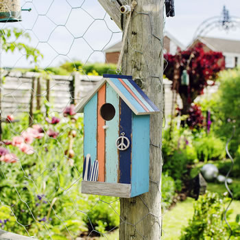 Extra image of Hanging Painted Wooden Beach Hut Bird House with Peach Stripe