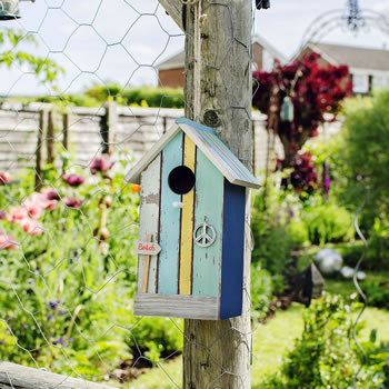 Extra image of Hanging Painted Wooden Beach Hut Bird House with Yellow Stripe