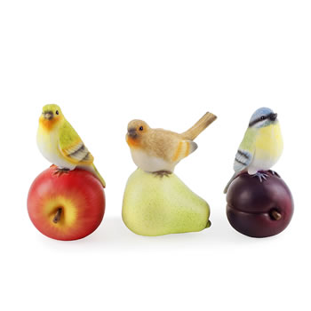 Image of Trio of Fruit Loving Realistic Resin Bird Ornaments for Garden or Home