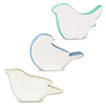 Image of Contemporary Set of 3 White, Blue & Grey Ceramic Bird Silhouette Home Ornaments
