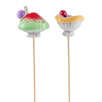 Image of Pair of Glazed Terracotta Garden Mushroom Ornaments on Sticks with Insects