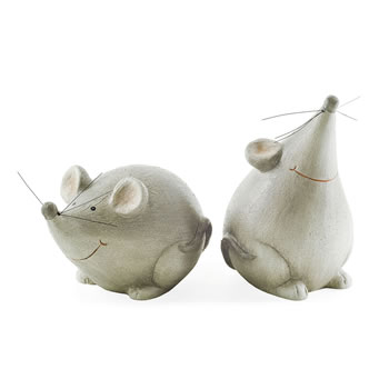 Image of Brie & Cheddar the Terracotta Mouse Ornament Pair for the Garden