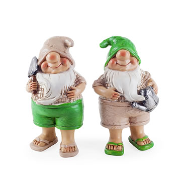 Image of Connor & Caleb the Summertime Garden Gnome Ornaments in Flip-flops