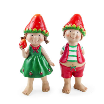 Image of Jacob & Jill the Standing Strawberry Twins Garden Ornament Pair