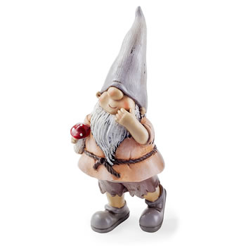 Image of Moss the Garden Loving Gnome Ornament with Mushroom